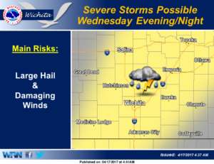 Severe weather possible Wednesday evening