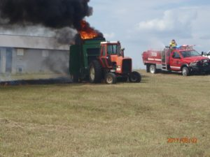 Round baler destroyed by fire Wednesday afternoon