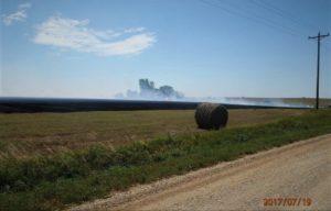 Baler ignites fire that consumes 15 acres