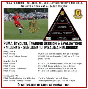 Puma FC Salina to Hold Tryouts June 8-10