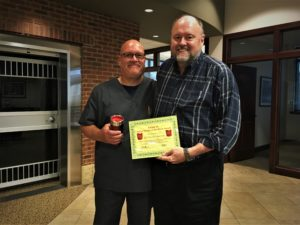 "Jeff ""Hammer"" Bachman is presented with the BANK VI Hero of the Week Award"