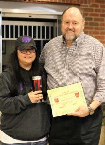 Shannon Schneider receives her BANK VI Hero of the Week Award
