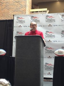 Salina Liberty General Manager Francis Flax speaks at Wednesday press conference (Photo by Terry Tebrugge/Salina Post)