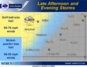 Storms expected late afternoon and evening