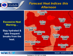 Dangerous afternoon through early evening heat indices