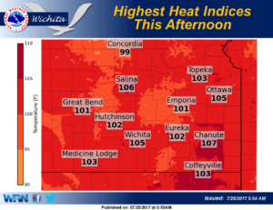 Heat indices this afternoon will range from about 100 to 107
