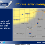 Storms possible after midnight