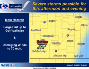 Severe thunderstorms possible this afternoon and evening
