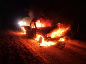 Pickup destroyed in Monday night fire