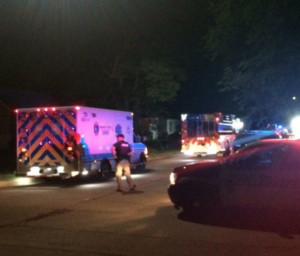 First responders on the scene of Sunday night stabbing -photo courtesy KAKE