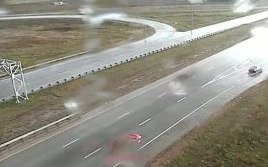 Tuesday night rainfall on the I-70, I-135 interchange-KDOT camera view