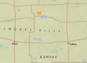 Quake location in Osborne County -USGS image