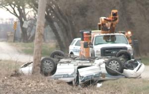 Kansas Deputy hospitalized after crash into power pole