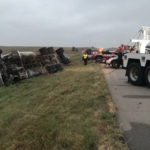 Driver hospitalized in Salina after semi rolls