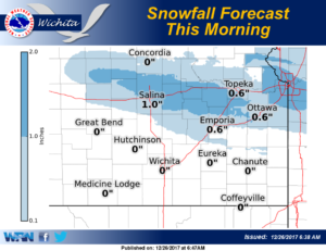 Snowfall accumulations of 1 inch or less expected
