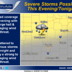 Isolated to widely scattered thunderstorms possible this evening