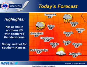 Scattered storms possible this afternoon