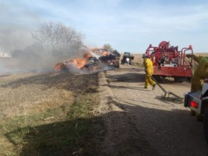 Trailer Damaged, Hay Bales Destroyed by Fire