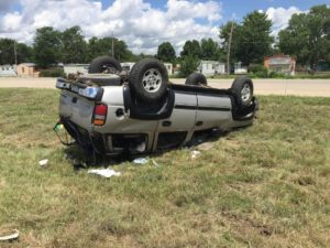 One Hospitalized After SUV Rolls Over on I-135