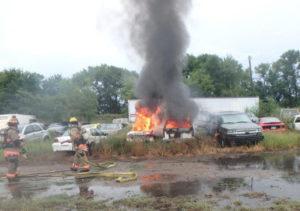 Cars catch fire in storage lot