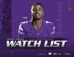 K-State's Reed Named to Thorpe Award Watch List