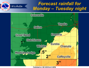 Chance for rain Monday and Tuesday