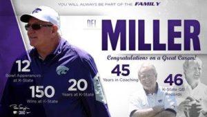 K-State Co-Offensive Coordinator Miller Announces Retirement