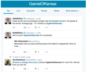 Paul Ray Ramsey's Twitter profile described a second meeting in July and tagged Gabriel Wilson's profile.