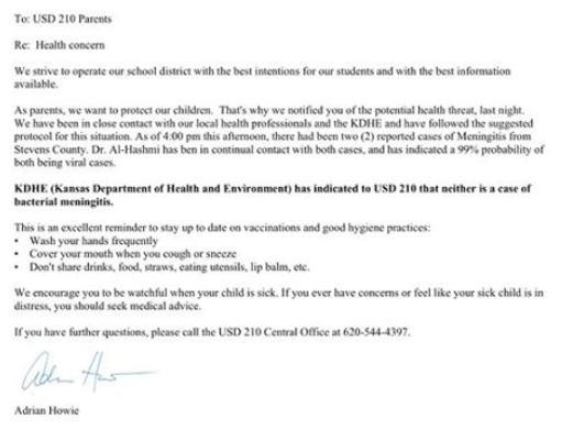 Med School Update Letter.Update Kdhe Kan Middle School Student Has Viral Not Bacterial